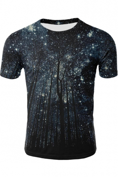 3D Galaxy Forest Print Stylish Short Sleeve Fitted Blue T-Shirt
