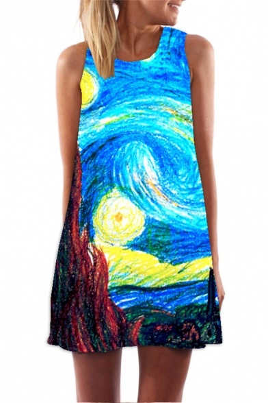 Купить со скидкой 3D Van Gogh Galaxy Oil Painting Print Round Neck Blue Mini Swing Tank Dress