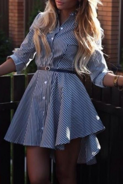 Basis Stripes Printed Button Belt Button Embellished Lapel Collar Long Sleeve Mini Shirt Dress
