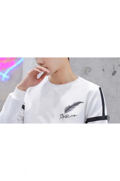 Boys Fashion Letter Feather Print Chest Striped Long Sleeve Crewneck Regular Fitted Sweatshirt