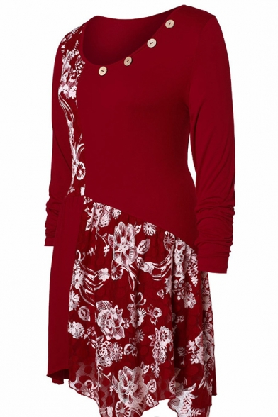 Chic Floral Print Patchwork Button-Embellished Round Neck Long Sleeve Midi Pleated Midi Dress
