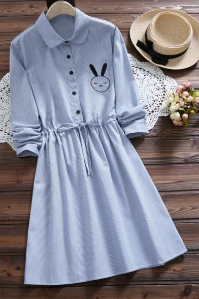 Funny Bunny Embroidered Long Sleeve Lapel Collar Button Drawstring Waist Mini Shirt Dress