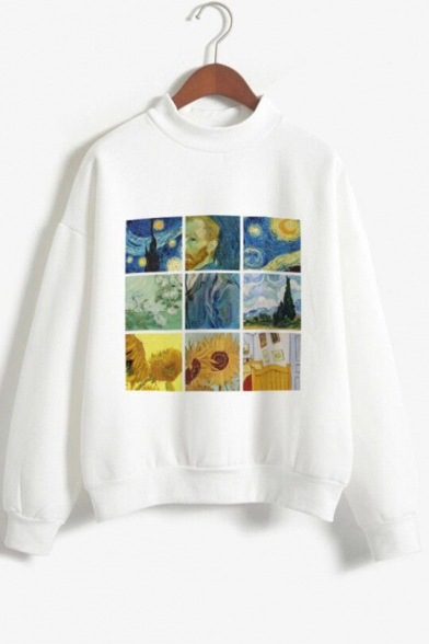 Long Sleeve Mock Neck Van Gogh Oil Painting Leisure Warm Pullover White Sweatshirt