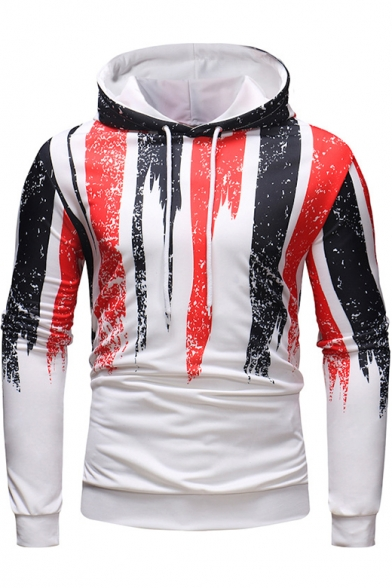 New Stylish Color Block Tie Dye Print Long Sleeve Fitted Pullover White Hoodie