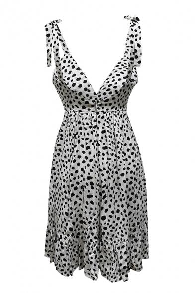 Plunge Neck Straps Sleeveless Open Back Polka Dot Printed White Sexy Mini A-Line Dress