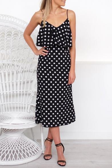 Trendy Black Polka Dot Printed Spaghetti Straps Midi Slip Dress for Women