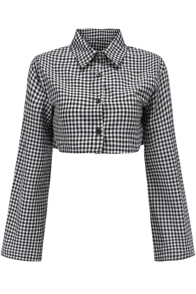 Trendy Classic Plaid Print Big Extra Long Sleeve Lapel Collar Button Front Cropped Shirt