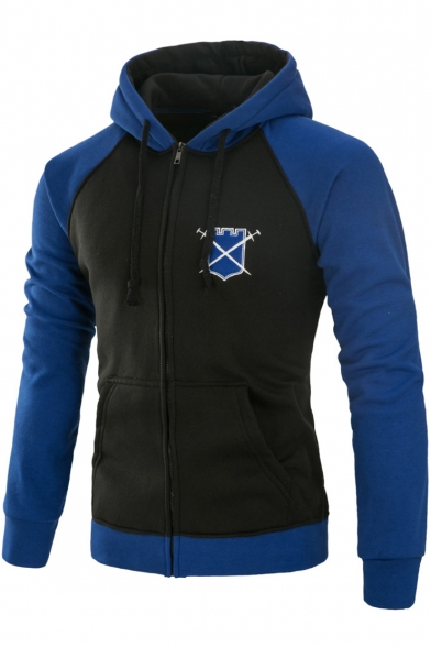 Trendy Logo Print Chest Long Sleeve Colorblock Full Zip Front Fitted Hoodie