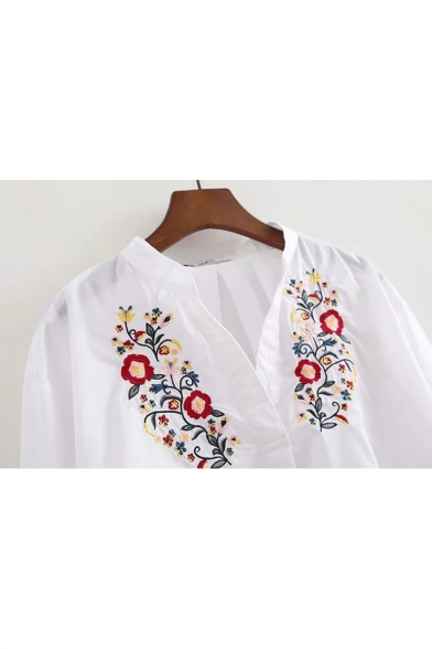 White Chic Floral Embroidered V-Neck Long Sleeve Casual Loose Blouse
