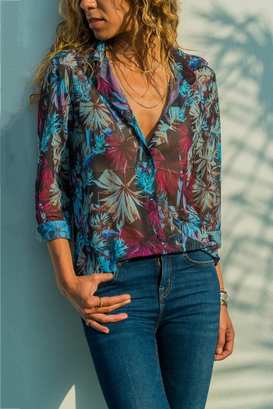 Women's Stylish Tropical Floral Printed Lapel Collar Long Sleeve Blue Chiffon Shirt
