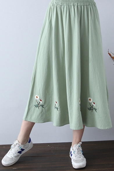 Chic Floral Embroidered Hem Elastic Waist Midi A-Line Cotton Skirt