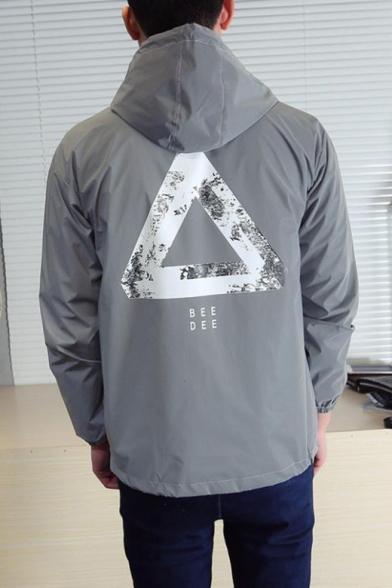 Fashion Hooded Reflective Zip Long Sleeve Geometric Printed Gray Coat