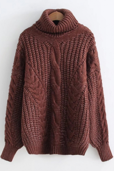 High Neck Long Sleeve Cable Loose Chunky Knit Warm Sweater, LC499671, Black;yellow;caramel