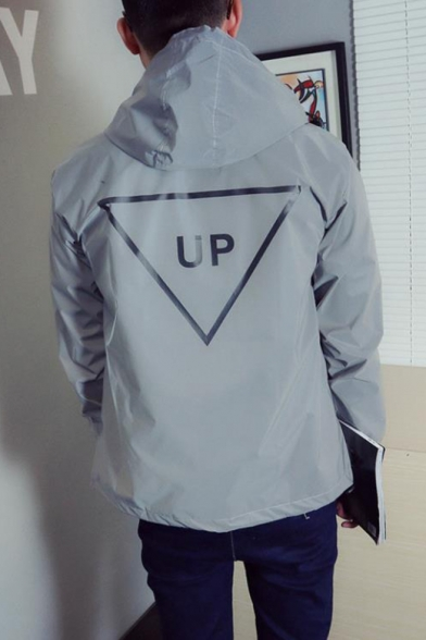 Letter UP Triangle Printed Back Long Sleeve Hooded Zip Gray Reflective Coat