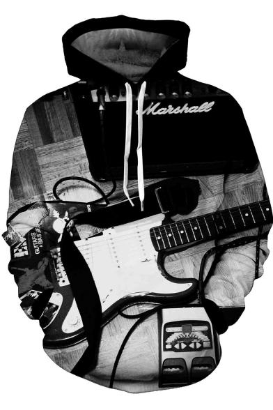 Men's Black Unique 3D Guitar Printed Long Sleeve Casual Chunky Hoodie