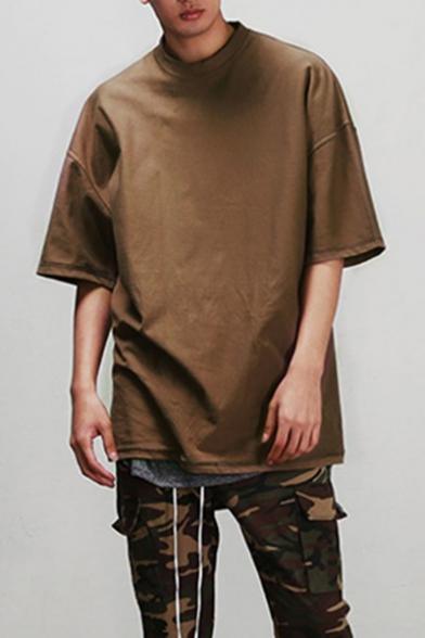 3fbcbe3d32 Men's Half-Sleeved Crew Neck Retro Plain Loose Oversized T-Shirt -  Beautifulhalo.com