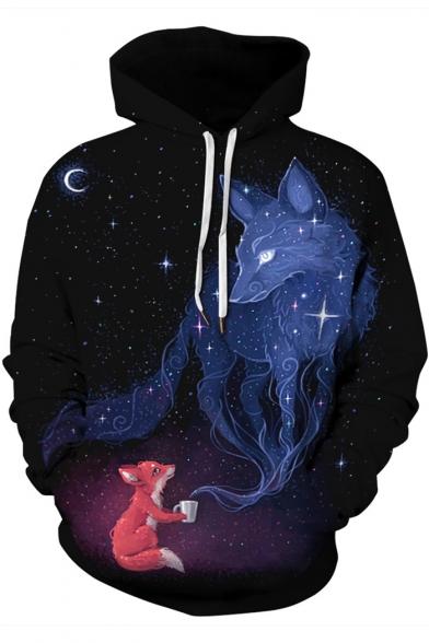 New Arrival Trendy 3D Cartoon Fox Pattern Black Long Sleeve Drawstring Hoodie