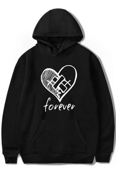 Popular American Rapper Heart Letter FOREVER Print Loose Relaxed Hoodie