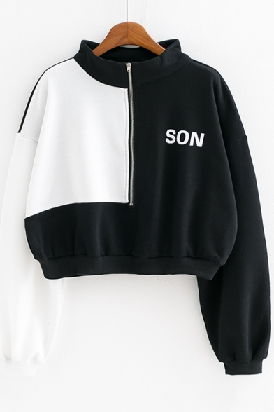 Stylish Colorblock Letter SON Print Long Sleeve Stand Collar Half-Zip Cropped Cotton Sweatshirt