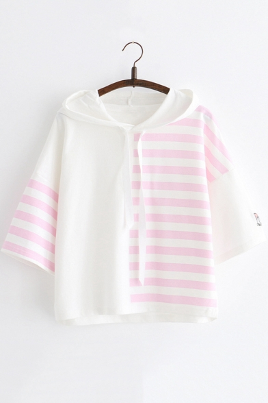 Summer Cute Striped Printed Loose Casual Drawstring Hoodie for Girls
