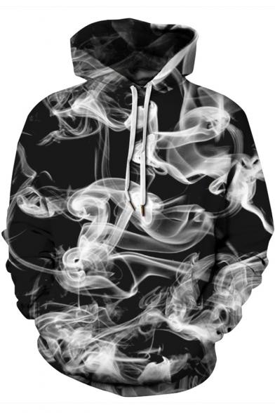 Trendy 3D Smoke Printed Long Sleeve Loose Fit Pullover Black Drawstring Hoodie