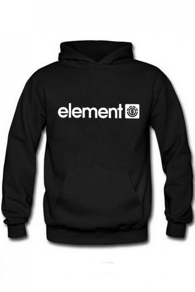 Trendy Letter ELEMENT Printed Long Sleeve Regular Fitted Chunky Hoodie