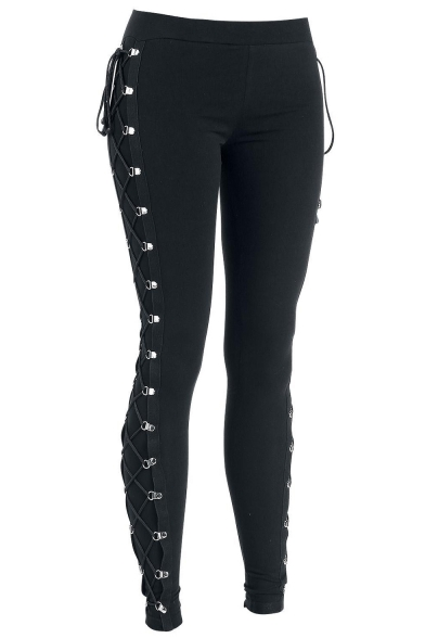 Women's New Stylish Black Elastic Waist Lace-Up Side Skinny Stretch Leggings