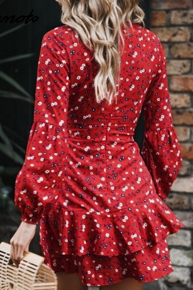 Women's Sexy Plunge Neck Long Sleeve Bow-Tied Waist Ruffle Hem Floral Print Mini A-Line Red Dress