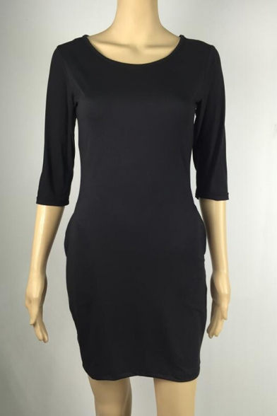 Women's Simple Plain Round Neck Half-Sleeved Mini Sheath Dress with Pocket