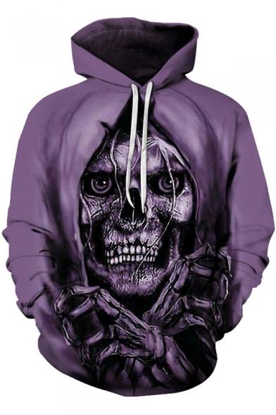 3D Purple Beatles Skull Printed Long Sleeve Loose Chunky Hoodie for Men