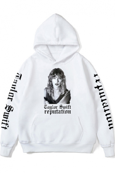 Casual Long Sleeve Letter REPUTATION Character Printed Regular Fitted Hoodie