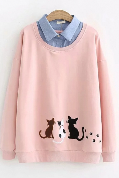 Fake Two Piece Long Sleeve Lapel Collar Cat Embroidered Casual Sweatshirt