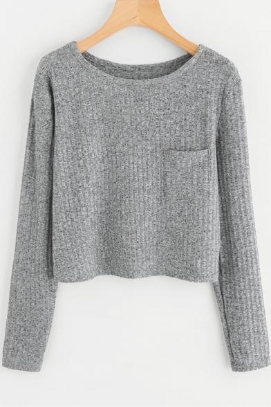 Купить со скидкой Gray Round Neck Long Sleeve Pocket Chest Simple Plain Cropped Knit T-Shirt