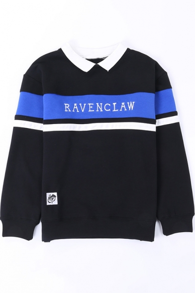 Fashion Letter GRYFFINDOR Print Colorblock Lapel Collar Long Sleeve Pullover Sweatshirt
