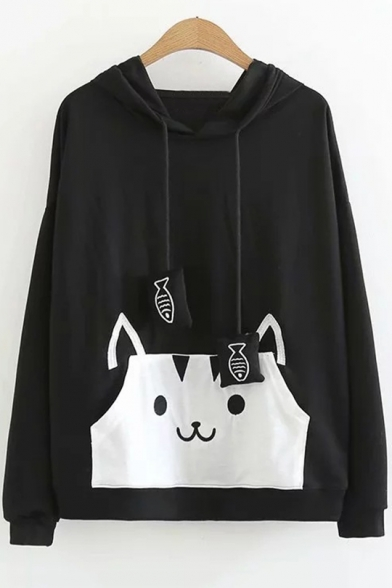 New Stylish Cartoon Cat Printed Long Sleeve Loose Fit Funny Fish Drawstring Hoodie