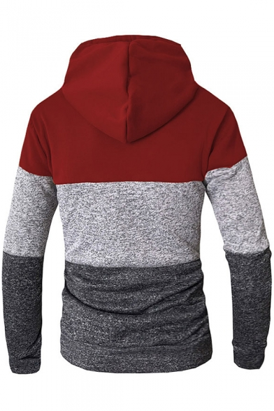 New Trendy Colorblock Long Sleeve Loose Casual Relaxed Sports Drawstring Hoodie for Guys
