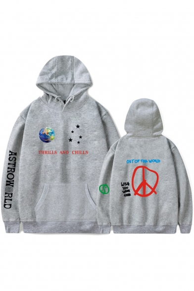 New Trendy Popular Planet Letter ASTROWORLD Print Relaxed Loose Pullover Hoodie