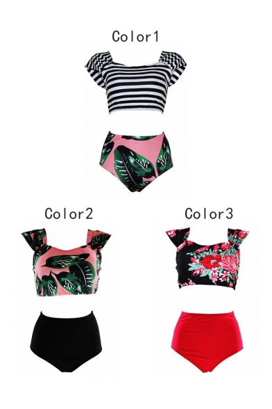 Off The Shoulder Striped Printed T-Shirt Top High Waist Leaves Pattern Bottom Swimwear