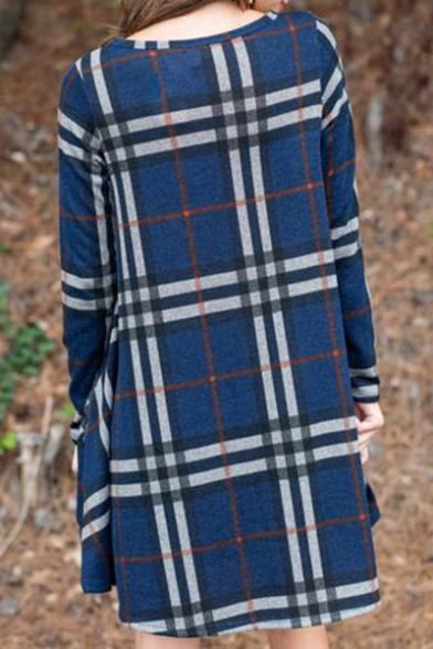 Popular Check Pattern Round Neck Long Sleeve Mini Swing Dress for Women