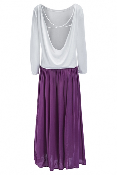 Popular Long Sleeve Round Neck Colorblock Open Back Maxi A-Line Dress