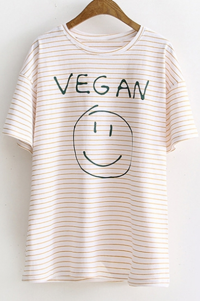 Stylish Short Sleeve Round Neck Striped Letter VEGAN Smile Face Printed Leisure Tee