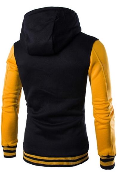 Teenage Fashion Colorblock Rib Trim Long Sleeve Button Down Varsity Jacket Cotton Hoodie