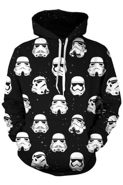 Trendy All Over Star Wars Figure Print Long Sleeve Black Pullover Drawstring Hoodie