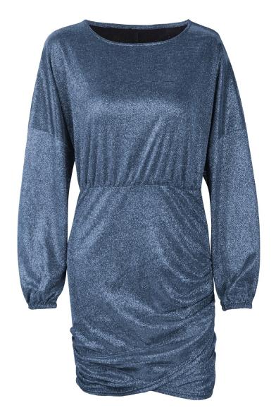 Trendy Round Neck Long Sleeve Mini Sheath Silver Dress for Women