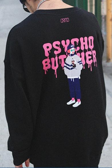 Trendy Street Retro Letter PSYCHO BUTCHER Cartoon Girl Print Black Loose Fit Sweatshirt