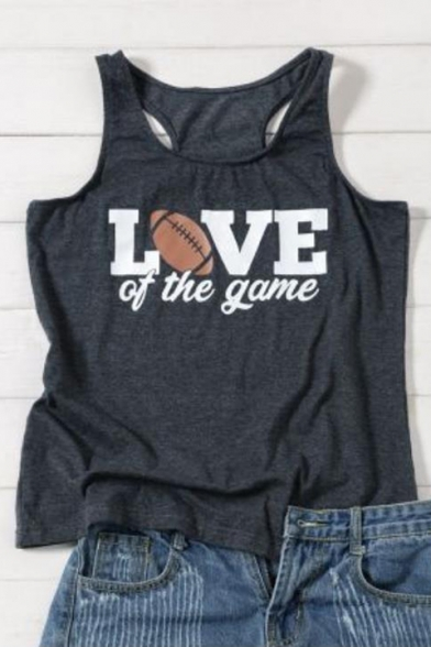 Unique Rugby Letter LOVE OF THE GAME Print Summer Loose Leisure Grey Tank Top