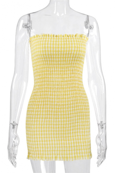 Women's Sexy Ruffle Trim Fashion Plaid Printed Mini Bodycon Bandeau Dress