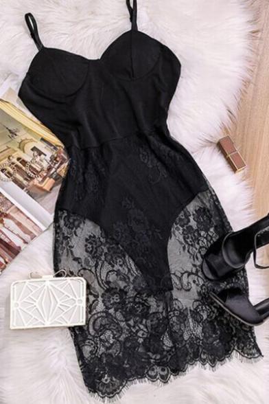 Women's Sexy Sheer Lace Crochet Black Mini Bodycon Bodysuit Slip Dress