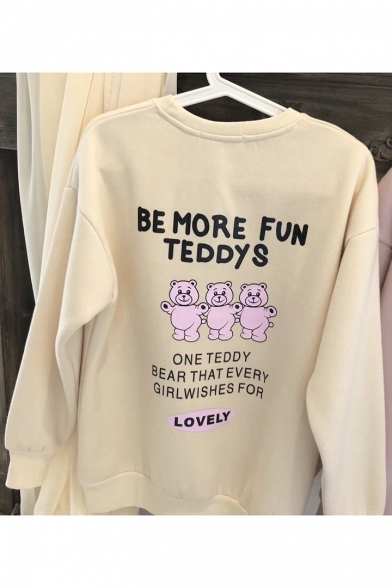 Cartoon Bear Letter BE MORE FUN TEDDYS Print Round Neck Long Sleeve Pullover Loose Sweatshirt