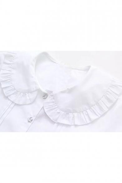 Chic Ruffle Hem Peter-Pan Collar Long Sleeve Heart Embroidered White Button Shirt